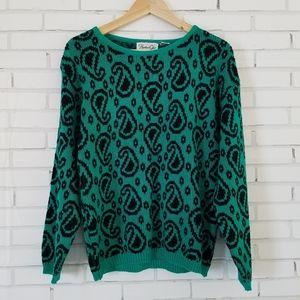 Vintage Green & Black Paisley Sweater